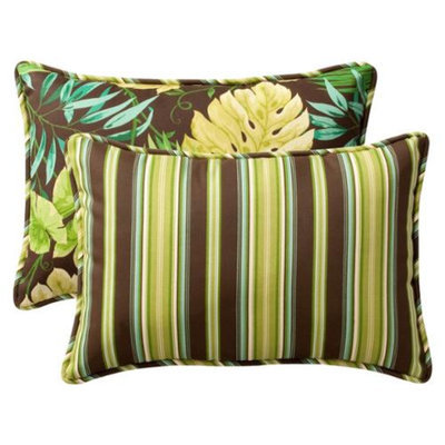 Pillow Perfect 2-Piece Outdoor Reversible Toss Pillow Set - Brown/Red Floral/Stripe