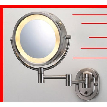 Chisupply.com Lighted 5X Make up Mirror in Satin Nickel Finish for Makeup