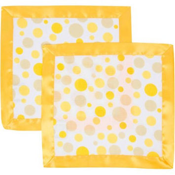 Miracle Industries MiracleWare Polka Dots with Yellow Trim Muslin 2 Pack Security Blanket