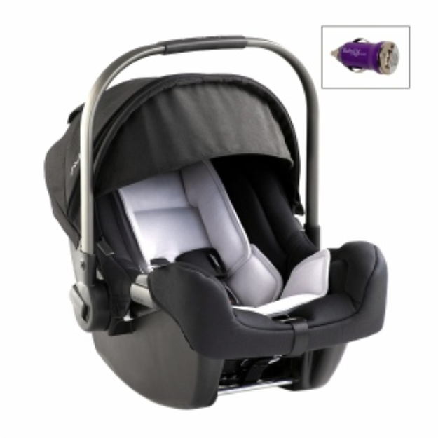 Nuna Pipa Infant Car Seat and Base and Mini Auto USB Adapter, Night, 1 ea