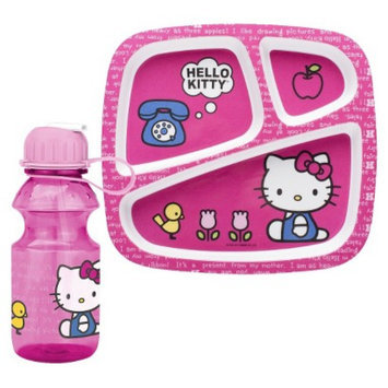 Zak Designs Hello Kitty Divided Plate and Water Bottle Set