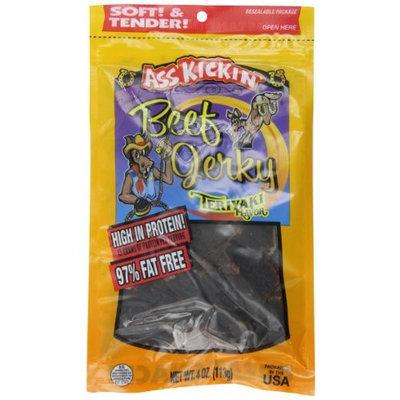 Ass Kickin' Beef Jerky Teriyaki, 4-Ounce Bags (Pack of 6)