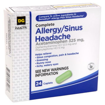 DG Health Complete Allergy/Sinus Headache Relief Caplets - 24 ct