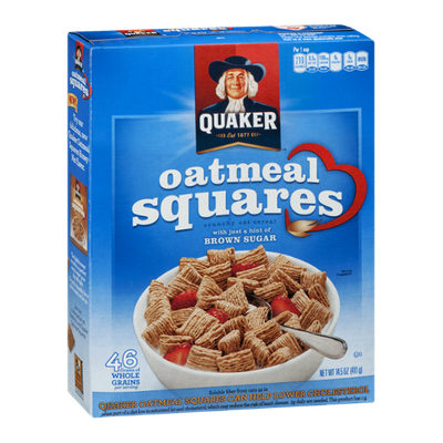 Quaker Oatmeal Squares with a Hint of Brown Sugar Crunchy Oat Cereal