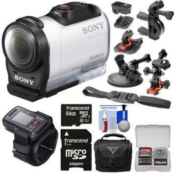 Sony Action Cam HDR-AZ1 Mini HD Video Camera Camcorder & Live View Remote with 64GB Card + 2 Helmet, Flat Surface, Suction Cup & Bike Handlebar Mounts + Case + Kit