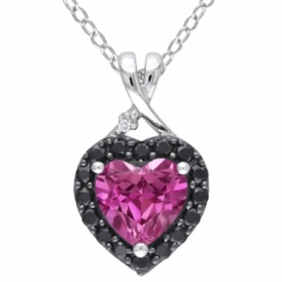 Amour Silver Diamond & Gemstone pendant, Silver, Diamond, Pink, Black, 1 ea