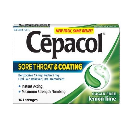 Cepacol Lozenges Max Sugar Free Sore Throat Plus Coating, Lemon Lime 16 Count (Pack of 3)