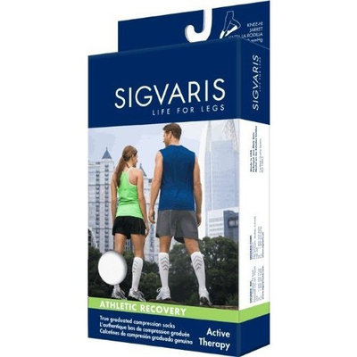 Sigvaris Men's and Women's 15-20mmHg Athletic Recovery Sock Size: Women's Size A, Color: White 00