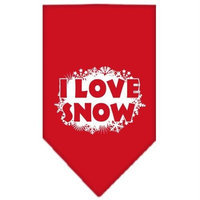 Mirage Pet Products 662513 SMRD I Love Snow Screen Print Bandana Red Small