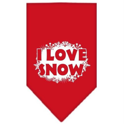 Mirage Pet Products 662513 SMRD I Love Snow Screen Print Bandana Red Small