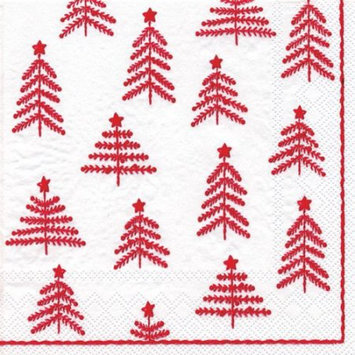 Ideal Home Range 4 Packs Paper Cocktail Napkins Little Xmas Trees Wht Red