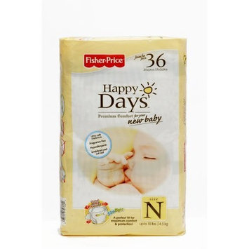 Fisher-Price Fisher Price Happy Days Baby Diapers Jumbo Pack, Newborn, 36 Count (Pack of 6)