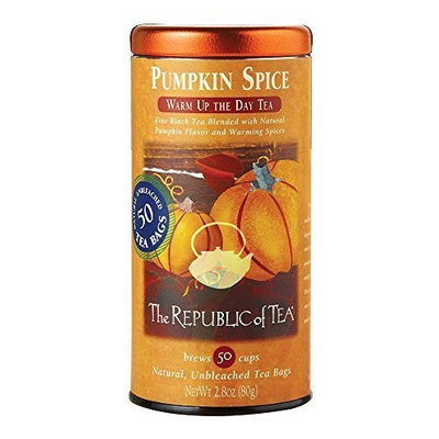 The Republic Of Tea Pumpkin Spice Black Tea, 50 Tea Bags, Autumnal Spice Blend [Pumpkin Spice, 50 Tea Bag Tin]
