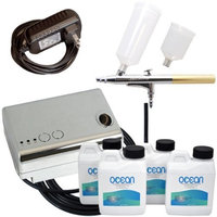 Complete Professional Belloccio Sunless Tanning Airbrush System with Ocean DHA Solution Sunless Tanning Variety Sampler Pack (4 Different Solutions - 1 Pint Total)