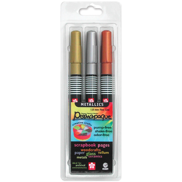 Sakura 483523 Permapaque Paint Marker Metallic Fine Point Set 3PkgGoldSilverBronze