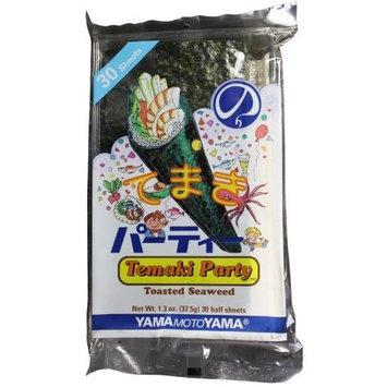 Yamamotoyama Temaki Party Half Sheet Nori Seaweed, 1.3-Ounce Bags (Pack of 6)