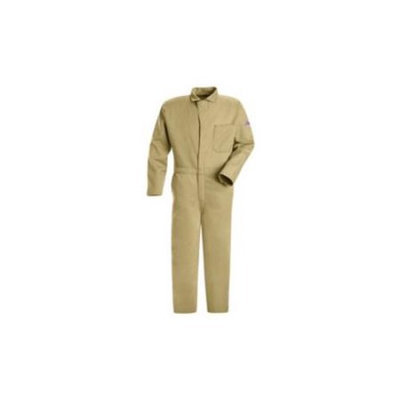BULWARK CEC2KHLN54 Flame-Resistant Coverall, Khaki,54