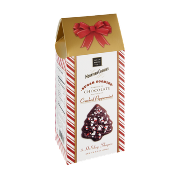 Salem Baking Co. Moravian Cookies 5 Holiday Shapes Crushed Peppermint Chocolate Sugar Cookies