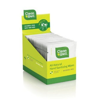 Cleanwell Natural Hand Sanitizing Wipes, 20-Count Individually Wrapped Wipes (Pack of 2)