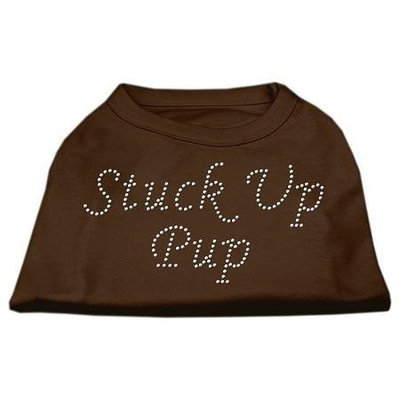 Ahi Stuck Up Pup Rhinestone Shirts Brown Sm (10)