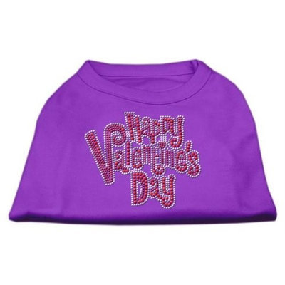 Ahi Happy Valentines Day Rhinestone Dog Shirt Purple Lg (14)
