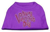 Ahi Happy Valentines Day Rhinestone Dog Shirt Purple XXXL (20)