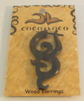 Post Earrings Wood Brown Coco Loco 1 Pair Earring