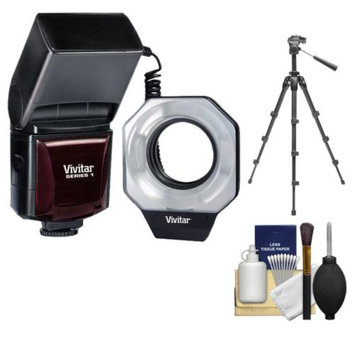 Vivitar Dedicated Digital Macro Ring Flash with Tripod + Accessory Kit for Canon EOS 6D, 70D, 5D Mark II III, Rebel T3, T3i, T4i, T5, T5i, SL1 Digital SLR Cameras