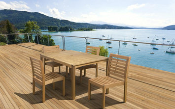 Amazonia Ibiza 5 Piece Armless Eucalyptus Wood Rectangular Patio Dining Set Brown