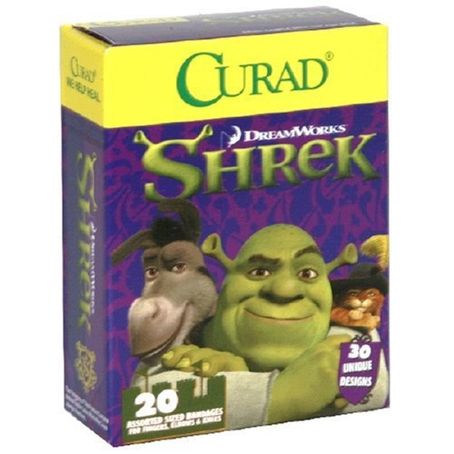 Curad Bandages, Assorted Sized, Shrek, 20-Count Boxes (Pack of 6)