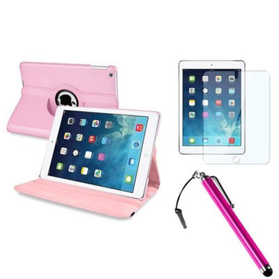 Insten INSTEN Light Pink 360 Rotating Leather Case Cover+Protector+Pen For Apple iPad Air 5 5th Gen