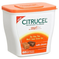 Citrucel Soft Chews Fiber supplement with Calcium Chocolate and Caramel, 60 Count Tubs (Pack of 2)