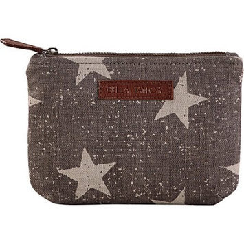 Bella Taylor Vintage Star Grey Personal Pouch Set of 2 Cosmetic Case Makeup Bag Travel 6.25x9x5 And 5x7x5
