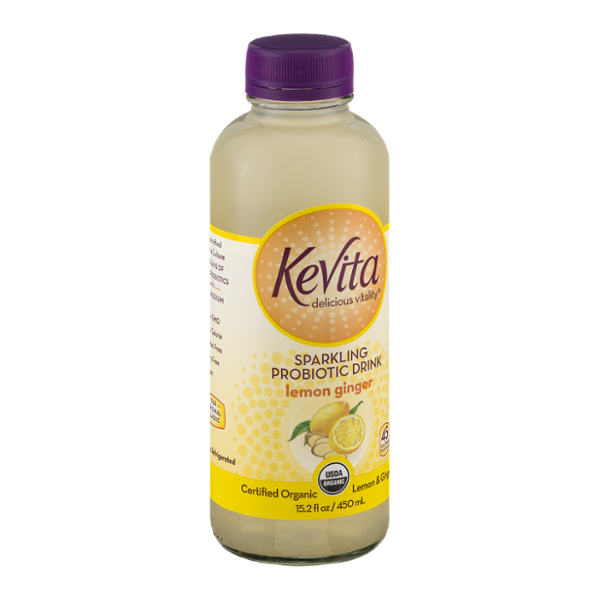 KeVita Delicious Vitality Sparkling Probiotic Drink Lemon Ginger