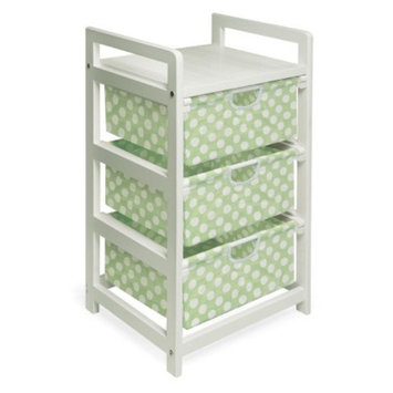 Badger Basket White 3-Drawer Hamper/Storage - Sage/Polka Dots