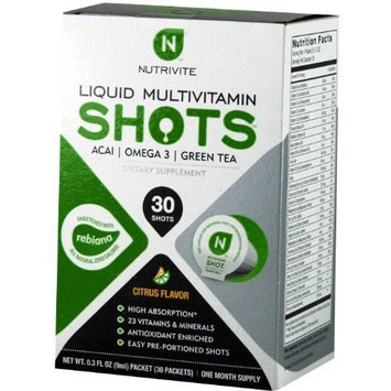 NutriVite Citrus Flavor Liquid Multivitamin Shots, 0.3-Ounce Packet 30-Count Box