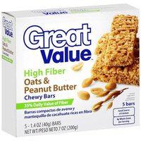 Great Value Fiber Bars Oats & Peanut Butter, 5 ct