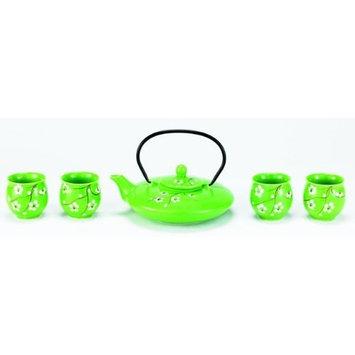 Old Dutch Dutch Bright Green Cherry Blossom 5 pc. Porcelain 24 oz. Tea Set