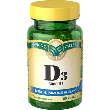 Spring Valley Vitamin D-3 Maximum Strength Softgels 5000 Iu Dietary Supplement 100 Ct