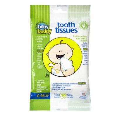 Baby Buddy Tooth Tissues, Bubble Gum, 30 ea