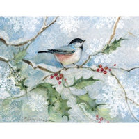 Lang Boxed Holiday Cards - Chickadee with Holly