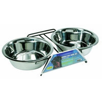 Hagen Dogit Stainless Steel Double Dog Diner, X-Large