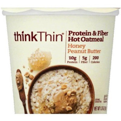 think Thin Honey Peanut Butter Protein & Fiber Hot Oatmeal, 1.76 oz, (Pack of 12)
