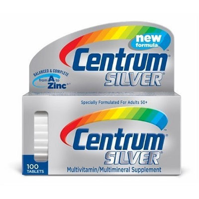 Centrum Silver Multivitamin/Multimineral Supplement Tablets for Adults 50+, 100-Count Bottles (Pack of 2)