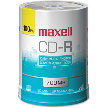 Maxell 648200 CD-R Discs, 700MB-80min, 48x, Spindle, Silver, 100-Pack