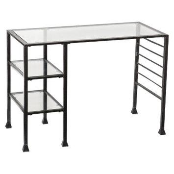 Writing Desk: Southern Enterprises Metal-Glass Writing Desk - Black