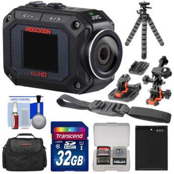 JVC GC-XA2 Adixxion Quad Proof Full HD Wi-Fi Digital Video Action Camera Camcorder with Curved Helmet, Flat Surface & Vented Helmet Mounts + 32GB Card + Battery + Case + Flex Tripod + Accessory Kit