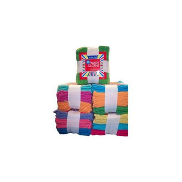 Bulk Buys 12 Pack Bright Colored Wash Cloths - Case of 36