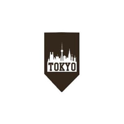 Ahi Tokyo Skyline Screen Print Bandana Cocoa Small