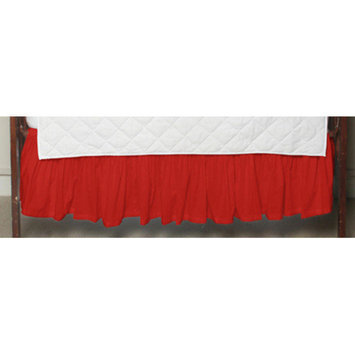 Patch Magic Bright Red Solid Fabric Crib Dust Ruffle
